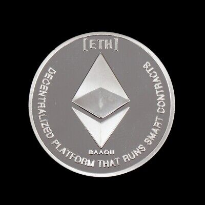 Ethereum Silver Plated Commemorative Collectible Iron Miner Coin Xmas Gifts DA