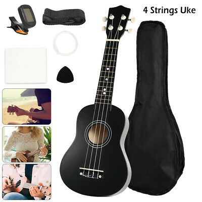 Ukulele 4 Strings Soprano Beginners 21 inch Guitar With Tuner Spare Strings Bag