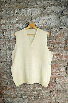 """Vintage Hand Knit Wool Gents Sleeveless Cream Pullover - Cricket- 47"""" Chest."""