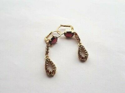 Antique GOLD Earrings with Garnets