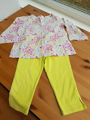 Next Lime Pedal Pushers Cropped Trousers & Evie Floral Top Set Outfit Age 4 Yrs