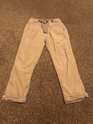 Next Brown Corduroy Striped Bow Buttons Detaied Trousers Girls Age 2-3 years