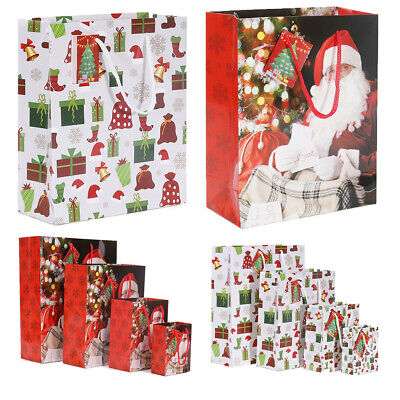 6x Coloured Paper Bags Christmas Gift & Santa Claus w/handle Xmas Party Loot Bag