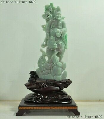 Natural Emerald ice Jadeite Jade Carving myth Living Buddha Monk Ji gong statue
