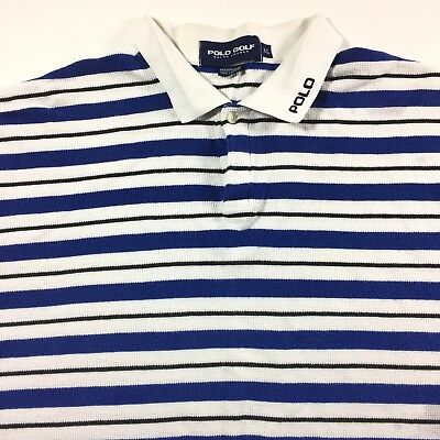 Men's Ralph Lauren Polo Shirt Short Sleeve  XL Golf Blue White 705