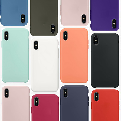 Case For iPhone X 8 7 6s Plus 6 XR XS MAX Genuine Silicone Soft Liquid Cover