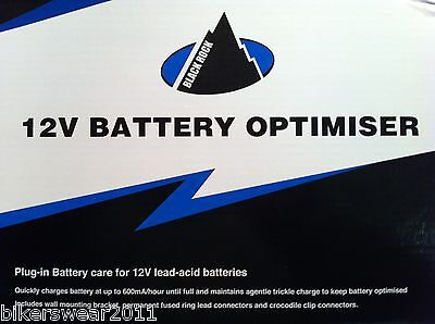 Oxford Black Rock 12v Battery Optimiser Trickle 12 Volt Charger for Bike Car