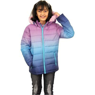 Kids Girls Jackets Baby Pink Faux Fur Hooded Puffer Two Tone Christmas Gift Coat