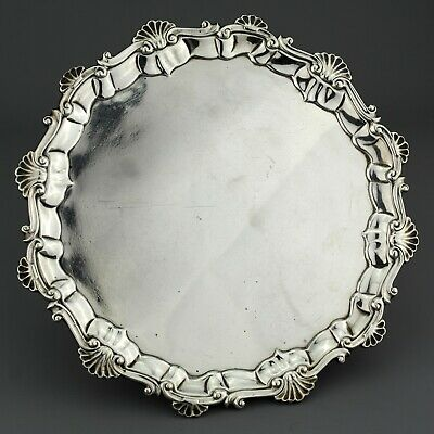 Ornate Antique Georgian Solid Sterling Silver Salver/Tray. Ebenezer Coker, 1761.