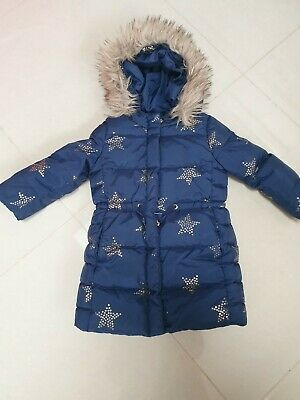 Baby Gap Girl 4 years Navy Blue & Gold stars winter jacket coat detachable fur