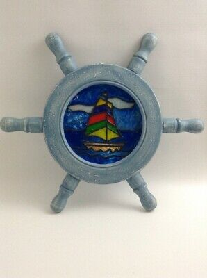 Stained Glass Wood Nautical Ships Wheel Helm Lighthouse Sailboat Wall Hanger