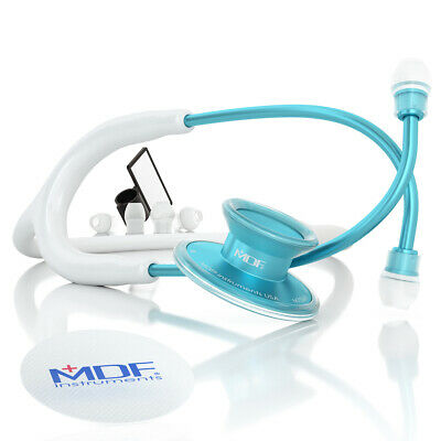 MDF747XPAQ29 Acoustica Lightweight Dual Head Stethoscope - Matte White and Blue