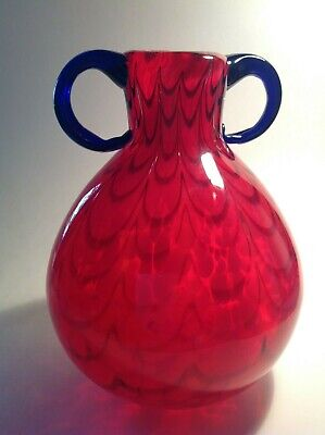 "MURANO ART GLASS VASE 10"" Multi Color Hand Blown, Italy"