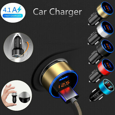 Dual USB Port Digital Red LED Voltage Current Display Car Charger For Cell Phone