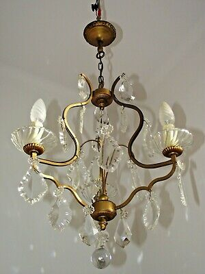 Beautiful French Antique 3 Arm Brass Cage Style Crystal & Glass Chandelier 1635