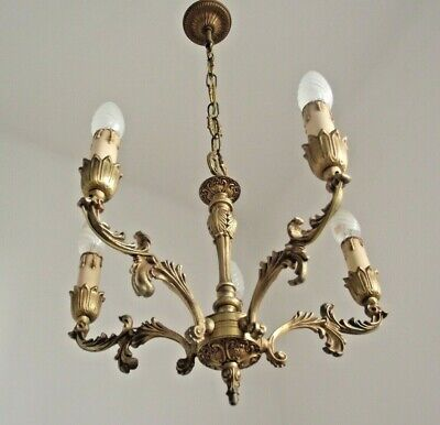 Beautiful French Antique Ornate 5 Arm Roccoco  Acanthus Leaf Chandelier 1637