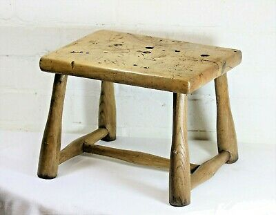 Antique Wooden Workshop Milking Stool Farmhouse Low Seat Step Footstool Rustic