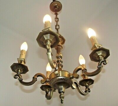 Grand French Vintage Guilded Bronze  5 arm Octagonal Detailed Chandelier 1638