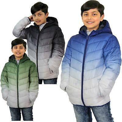 Kids Boys Hooded Puffer Jackets 3D Two Tone Faded Christmas Gift Warm Thick Coat