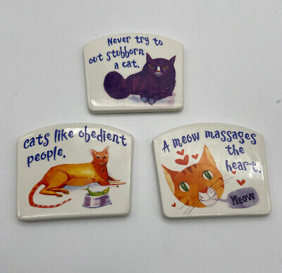 Lot Of Cat Plaques -Cats Like Obedient People Meow Massages Heart Plaque by Figi