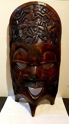 """Antique Large 22"""" Freestanding Hand Carved Face Mask African Tribal Art Zimbabwe"""
