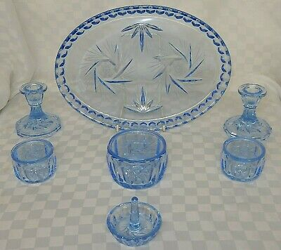 Art Deco Style Blue Glass Vanity / Dressing Table Set