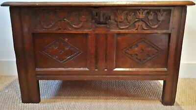 Antique 17Th Century Small Oak Coffer/Chest Deeply Carved With Tulip Frieze