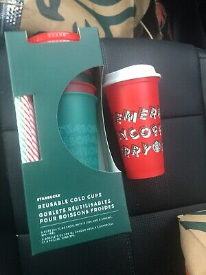 Starbucks 2019 Holiday Christmas Reusable Cold Cups Lids & Straws 24oz 5 Pack