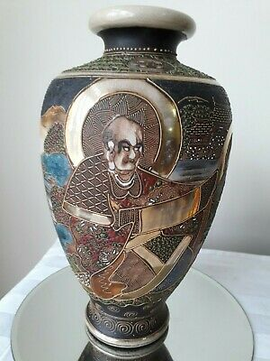 Antique Japanese satsuma vase approx 25.5 cm high hand painted & gilded