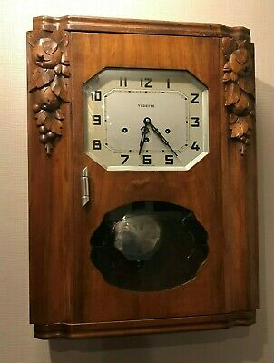 Vintage French Wall Clock VEDETTE Carved westminster chimes with Pendulum G.W.O