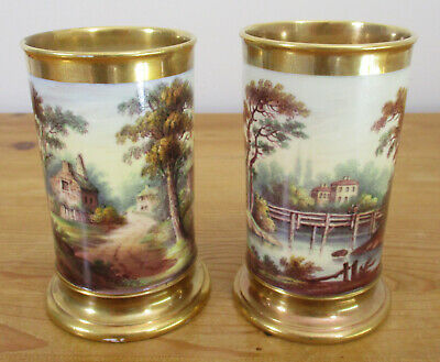 Pair Antique Hand Painted Unmarked (Royal Worcester?) Vases - Cottages & River