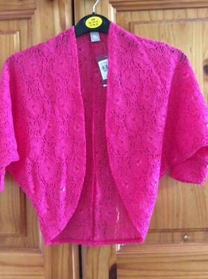 NEW GIRL'S CERISE PINK BOLERO SHRUG LACE CARDI JACKET HEIGHT 104 cm AGE 4 YEARS