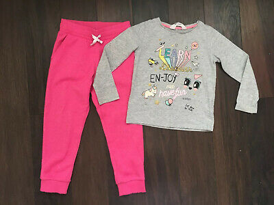 H&M Girls Grey T-Shirt Top & Pink Sparkle Joggers Bundle 2-4 Years