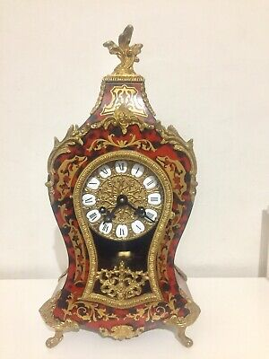 Vintage German Boulle Clock With Gilt  Brass Inlay By Hermle.
