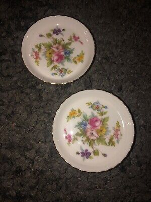 """Lot Of 2 Minton Marlow England Bone China Coasters Butter Pats Unused 3 3/4""""D"""