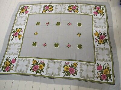TABLE CLOTH 1960s Vintage Rayon Floral border Rectangle 128 X 153 Retro Flowers