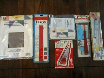 Assorted Crafing Tools - Squares, Knit Chek, Rolling Ruler, Trim Tool, Template