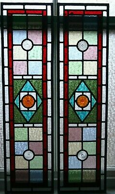 Beautiful pair of victorian design stained glass panels with amber rondels 2