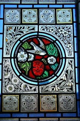 beautiful victorian design bird and flower stained glass panel