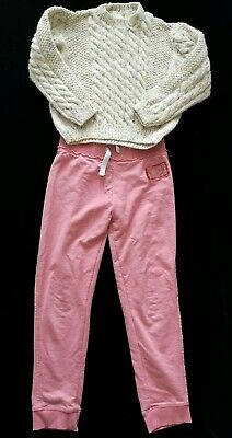 Girls Next Pink Track Suit Bottoms & Cable Knitted Handmade Woolly Jumper 5 6 7