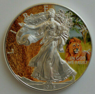 2015 1oz .999 Silver American Eagle  Lion Color With Certification