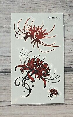 *UK SELLER*Simple Red Flower TEMPORARY TATTOO Waterproof /-a788-/