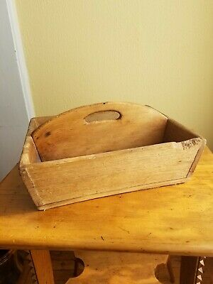 Antique Primitive Pine Divided Wooden Tote Box Utensil Tray Square Nailed