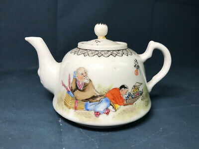 Antique Signed Chinese Porcelain Teapot Hand Painted Glazed