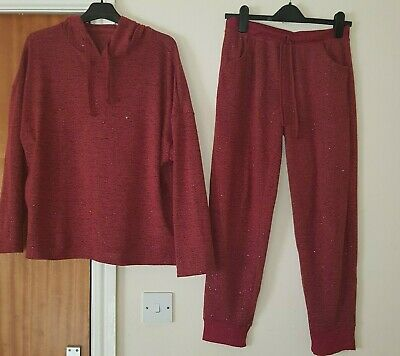 Peacocks Loungewear Set Outfit Hoody Joggers Casual Festive 10-12 Red Glitter
