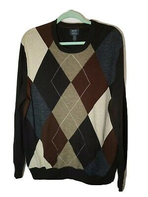 Joe Joseph Abboud Mens Size XL Pullover Sweater Brown Argyle Cotton