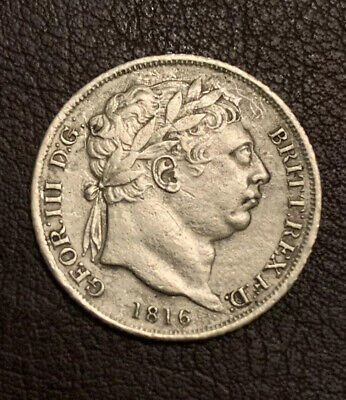 Very Rare 1816 George Iii Silver Sixpence In Great Condition..