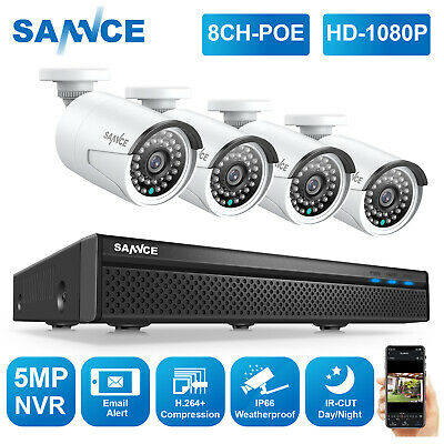 SANNCE HD 5MP 8CH NVR Full 1080P POE Security IP Camera System Audio Recording