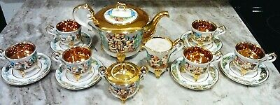 Gold White Capodimonte 15 PC Teaset Teapot Creamer Sugar Bowl Cups & Saucers