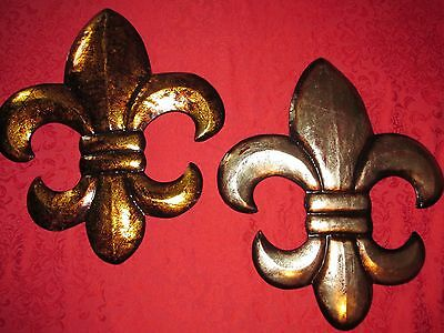 VTG Metal PAIR of Fleur De Lis Wall Plaques ~ Large 21x17